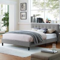 Modway Linnea Full Upholstered Platform Bed in Light Grey