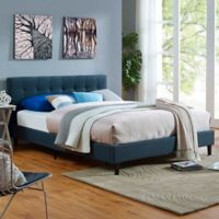 Modway Linnea Full Upholstered Platform Bed in Azure