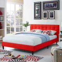 Modway Linnea Full Upholstered Platform Bed in Atomic Red