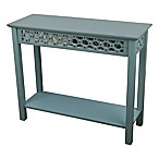 Decor Therapy Mirrored Front Console Table in Antique Iced Blue