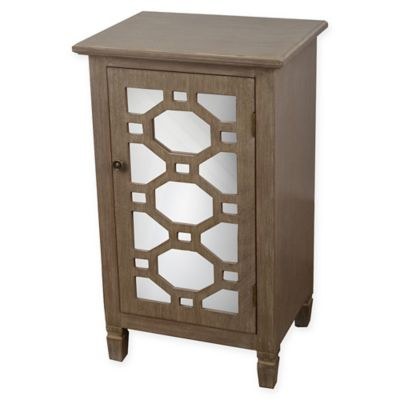 Decor Therapy Mirrored Door Accent Cabinet In Winter Wood