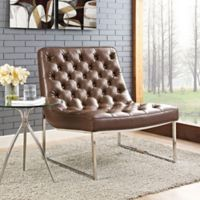 Modway Ibiza Vinyl Lounge Chair in Brown