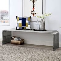 Modway Pipe 60-Inch Stainless Steel Bench in Silver