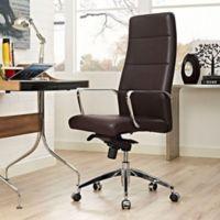 Modway Stride Vinyl Highback Office Chair in Brown