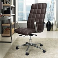 Modway Tile Vinyl Highback Office Chair in Brown