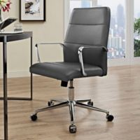 Modway Stride Vinyl Mid-Back Office Chair in Grey