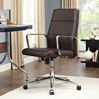 Modway Stride Vinyl Mid-Back Office Chair in Brown