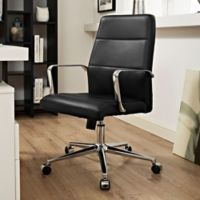 Modway Stride Vinyl Mid-Back Office Chair in Black