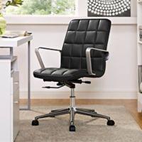Modway Tile Vinyl Office Chair in Black