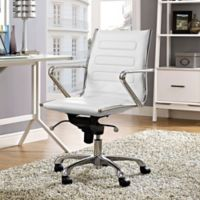Modway Ascend Vinyl Mid-Back Rolling Office Chair in White