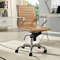 Modway Ascend Vinyl Mid-Back Rolling Office Chair in Tan