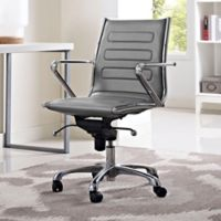 Modway Ascend Vinyl Mid-Back Rolling Office Chair in Grey
