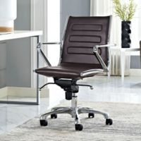 Modway Ascend Vinyl Mid-Back Rolling Office Chair in Brown