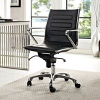 Modway Ascend Vinyl Mid-Back Rolling Office Chair in Black