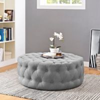 Modway Armour Fabric Ottoman in Light Grey