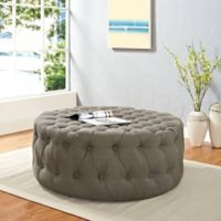 Modway Armour Fabric Ottoman in Granite