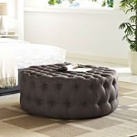 Modway Armour Fabric Ottoman in Brown