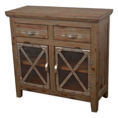 Décor Therapy Chicken Wire 2 Door Cabinet In Vintage Brown