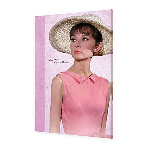 Audrey Hepburn Pink Dress 24-Inch x 36-Inch Canvas Wall Art - Bed ...
