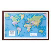 Map Marketing World Traveler Map 41-Inch x 25-Inch Wood Wall Art in Dark Wood