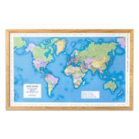 Map Marketing World Traveler Map 41-Inch x 25-Inch Wood Wall Art in Light Wood