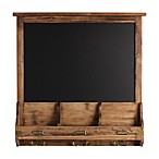 Kate and Laurel Stallard Chalkboard Wall Organizer with Hooks in Brown