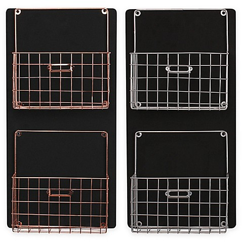 image of Kate and Laurel Dinah Chalkboard Wall Organizer with Metal Baskets