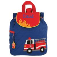 Stephen Joseph® Firetruck Quilted Backpack in Blue