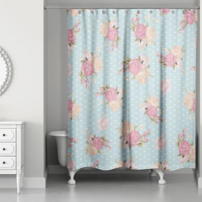 pink grey shower curtain. Designs Direct Floral Dot Shower Curtain in Blue Pink Buy from Bed Bath  Beyond