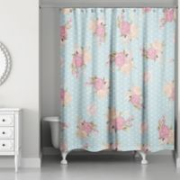 Designs Direct Floral Dot Shower Curtain in Blue/Pink