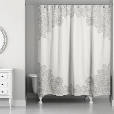 Lovely Designs Direct Brown Lace Shower Curtain
