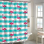 Destinations Pink Flamingo Shower Curtain in Aqua/Pink