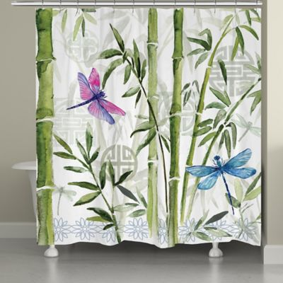 Interesting Dragon Fly Shower Curtain. Laural Home Bamboo Dragonflies Shower Curtain Buy Dragonfly from Bed Bath  Beyond