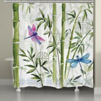 Laural Home Bamboo Dragonflies Shower Curtain