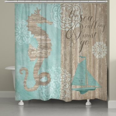 teal and brown shower curtain. Laural Home Beach Boardwalk Shower Curtain In Blue Brown Buy From Bed Bath  Beyond