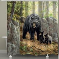 Laural HomeR Black Bear With Cubs Shower Curtain