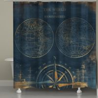 Laural Home Golden Compass World Map Shower Curtain in Blue