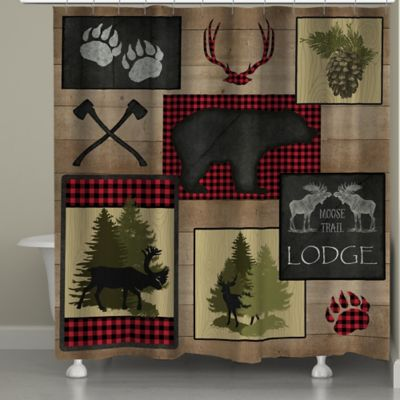 Superior Laural Home Lumberjack Plaid Lodge Patch Shower Curtain