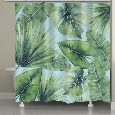 Laural Home Tropical Palm Tree Leaves Shower Curtain In Green Blue