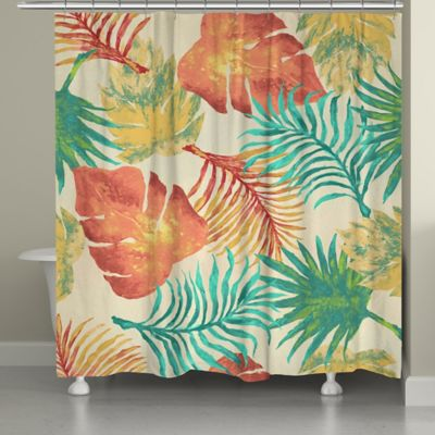 Laural Home® Tropical Havana Palm Leaves Shower Curtain