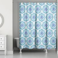 Designs Direct Boho Blue 71-Inch x 74-Inch Shower Curtain in Teal/White