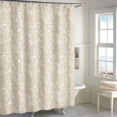 Destinations Seashell Toile Shower Curtain In Sand