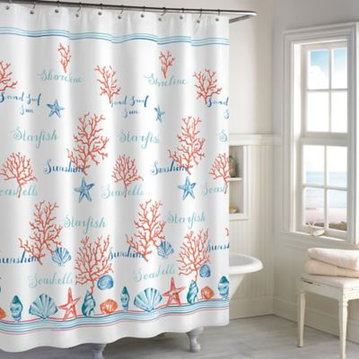 turquoise and coral shower curtain. Destinations Acapulco Shower Curtain Buy Coral Fabric Curtains from Bed Bath  Beyond
