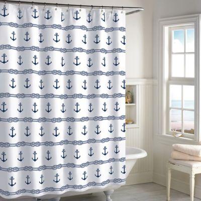 anchor stripe shower curtain in navy