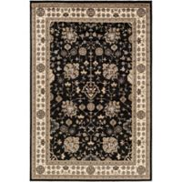 Surya Peroz Classic Floral Border 5-Foot 3-Inch x 7-Foot 6-Inch Area Rug in Black