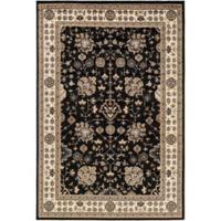 Surya Peroz Classic Floral Border 6-Foot 7-Inch x 9-Foot 6-Inch Area Rug in Black