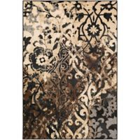 Surya Peroz Damask 5-Foot 3-Inch x 7-Foot 6-Inch Area Rug in Black