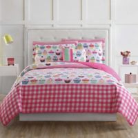 Laura Hart Kids Cupcakes Twin Quilt Set in Pink