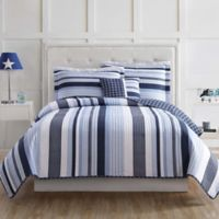 My World Mason Stripe Full Quilt Set in Blue/White