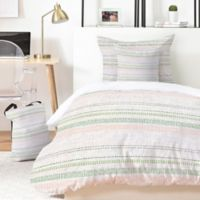 Deny Designs Holli Zollinger French Linen Stripe 5-Piece Queen Duvet Cover Set in Green/Blush